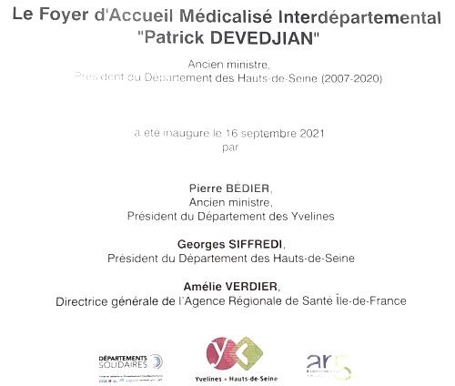 Inauguration du Foyer d'Accueil Médicalisé interdépartemental «Patrick Devedjian» aux Mureaux